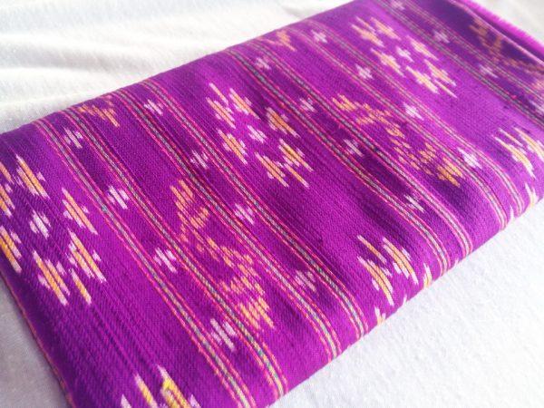 ผ้าไหมมัดหมี่ ลายรัตนบุรี สีม่วงชมพู